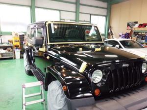 青梅市H様 Jeep ラングラー アンリミテッド G'ZOXハイパービューウインドウ撥水コート施工