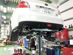 羽村市Rmc VAB WRX STI HKS SUPER TURBO MUFFLER W-Tail titan マフラー取付