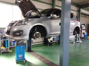 立川市A様 ZC32S スイフトスポーツ 法定12か月点検整備 ブレーキ分解・清掃・給油作業