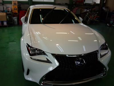 東京都福生市K様 新車 レクサス RC G&#39ZOXハイパービューウインドウ撥水コーティング施工作業