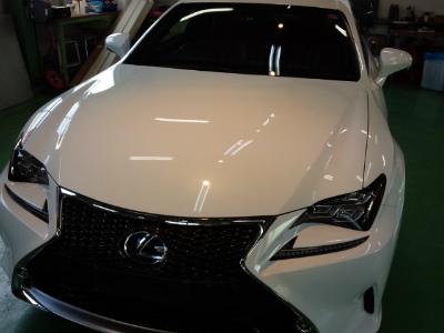 東京都福生市K様 新車 レクサス RC G&#39ZOX リアルガラスコート施工作業