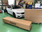 BMW F82M4 6MT アクラポビッチ スリップオンライン&エボリューションリンクパイプ&カーボンテール取付❗️羽村市RMC F82M4 6MT AKRAPOVIC