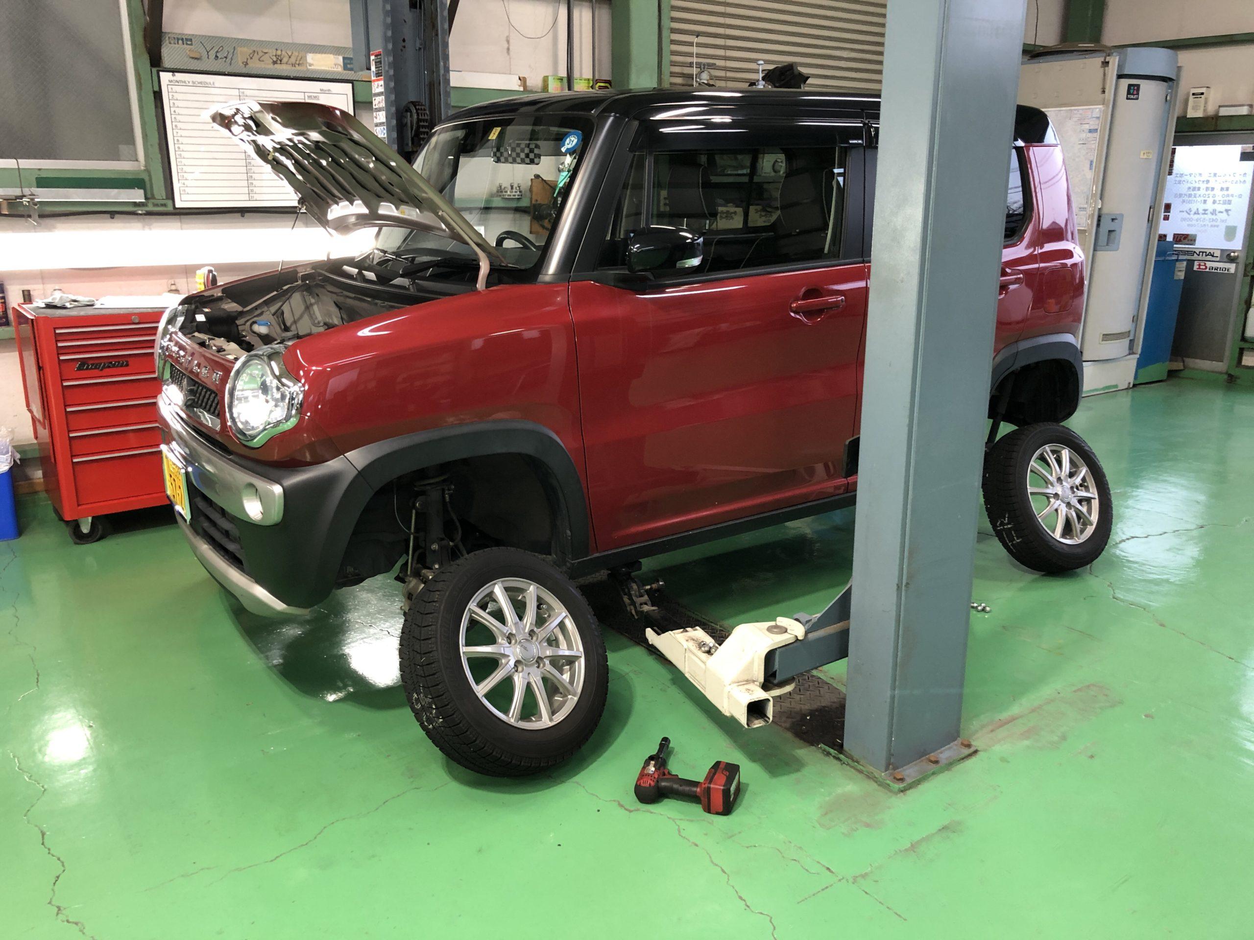 MR41S HUSTLER スタッドレスタイヤ履き替え エンジンオイル交換❗️羽村市U様MR41SHUSTLER